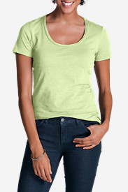 Green Tops for Women: Women's Essential Slub Short-Sleeve Scoop-Neck T-Shirt
