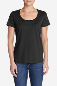 Petite Tops for Women: Women's Essential Slub Short-Sleeve Scoop-Neck T-Shirt