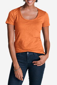Orange Tops for Women: Women's Essential Slub Short-Sleeve Scoop-Neck T-Shirt