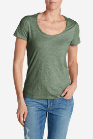 Green Plus Size Tshirts for Women: Women's Essential Slub Short-Sleeve Scoop-Neck T-Shirt