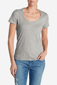 Gray Plus Size Tshirts for Women: Women's Essential Slub Short-Sleeve Scoop-Neck T-Shirt