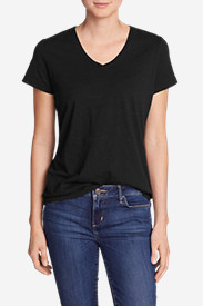 Petite Tops for Women: Women's Essential Slub Short-Sleeve V-Neck T-Shirt