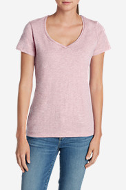 Purple Tees for Women: Women's Essential Slub Short-Sleeve V-Neck T-Shirt