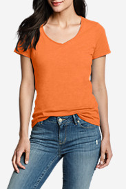 Orange Tops for Women: Women's Essential Slub Short-Sleeve V-Neck T-Shirt