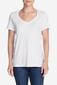 White Tees for Women: Women's Essential Slub Short-Sleeve V-Neck T-Shirt