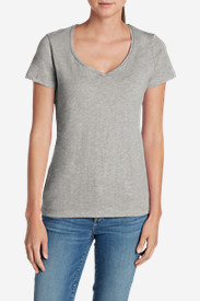 Gray Plus Size Tshirts for Women: Women's Essential Slub Short-Sleeve V-Neck T-Shirt