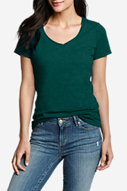 Green Plus Size Tshirts for Women: Women's Essential Slub Short-Sleeve V-Neck T-Shirt