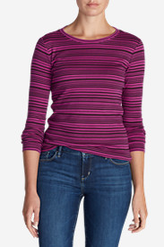 Cotton Tops for Women: Women's Favorite Long-Sleeve Crew T-Shirt - Stripe