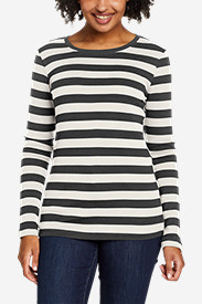 White Tees for Women: Women's Favorite Long-Sleeve Crew T-Shirt - Stripe