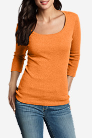 Orange Tops for Women: Women's Favorite 3/4-Sleeve Scoop-Neck T-Shirt