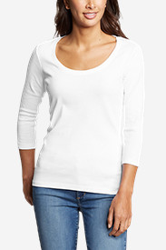 Cotton Tops for Women: Women's Favorite 3/4-Sleeve Scoop-Neck T-Shirt