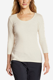 Beige Tees for Women: Women's Favorite 3/4-Sleeve Scoop-Neck T-Shirt