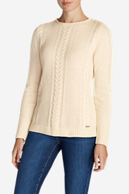Cotton Tops for Women: Women's Cable Fable Crew Sweater