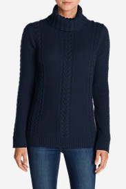 Blue Sweaters for Women: Women's Cable Fable Turtleneck Sweater