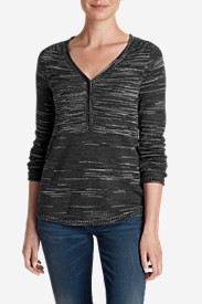 Petite Tops for Women: Women's Sweatshirt Sweater Henley - Space Dye