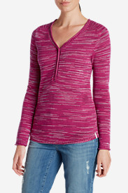 Cotton Sweaters for Women: Women's Sweatshirt Sweater Henley - Space Dye