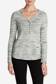 Gray Plus Size Sweatshirts for Women: Women's Sweatshirt Sweater Henley - Space Dye
