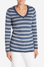 Women's Sweatshirt Sweater - Stripe V-Neck