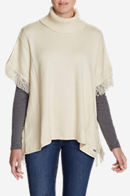 Women's Pine Cone Poncho Sweater - Solid