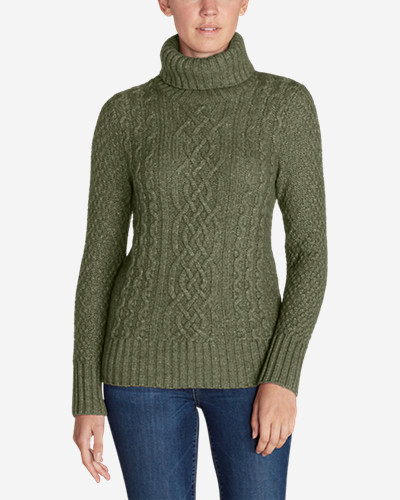 Womens Cable Fable Turtleneck Sweater Eddie Bauer