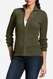 Green Tops for Women: Women's Medina Zip Cardigan Sweater