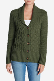 Green Tops for Women: Women's Eddie Bauer Heritage Cable Cardigan