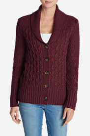 Purple Cardigans for Women: Women's Eddie Bauer Heritage Cable Cardigan