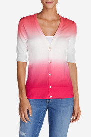 Petite Tops for Women: Women's Christine Dip-Dye V-Neck Cardigan Sweater
