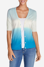 Blue Sweaters for Women: Women's Christine Dip-Dye V-Neck Cardigan Sweater