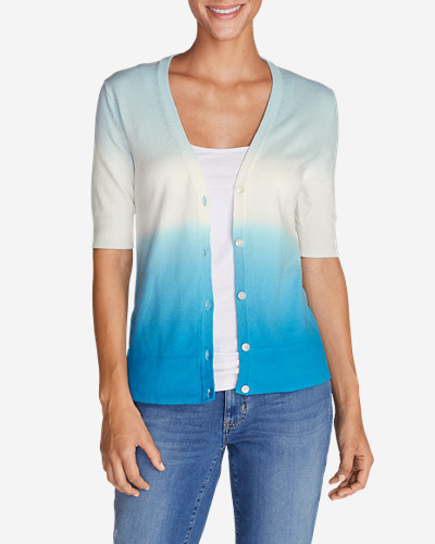 Cotton Cardigans for Women: Women's Christine Dip-Dye V-Neck Cardigan Sweater