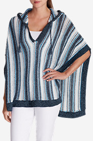 Blue Sweaters for Women: Women's Beachside Poncho Sweater
