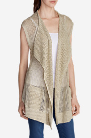 Cotton Tops for Women: Women's Beachside Long Vest Sweater