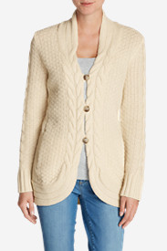 Beige Cardigans for Women: Women's Cable Fable Cardigan Sweater