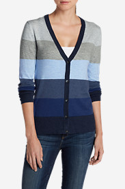 Blue Sweaters for Women: Women's Christine V-Neck Cardigan Sweater - Stripe