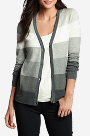 Cotton Tops for Women: Women's Christine V-Neck Cardigan Sweater - Stripe