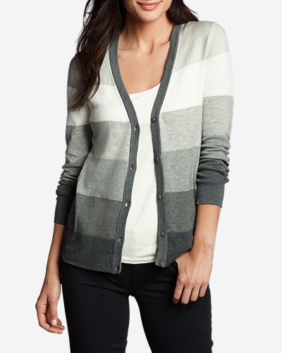 Cotton Cardigans for Women: Women's Christine V-Neck Cardigan Sweater - Stripe