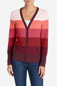 Red Cardigans for Women: Women's Christine V-Neck Cardigan Sweater - Stripe