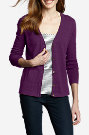 Comfortable Tops for Women: Women's Christine V-Neck Cardigan Sweater - Solid
