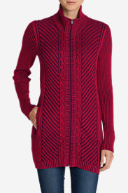 Red Cardigans for Women: Women's Shasta Zip-Front Mockneck Cardigan Sweater