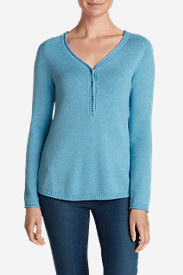 Blue Sweaters for Women: Women's Sweatshirt Sweater - Solid Henley