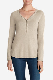 Beige Plus Size Sweatshirts for Women: Women's Sweatshirt Sweater - Solid Henley