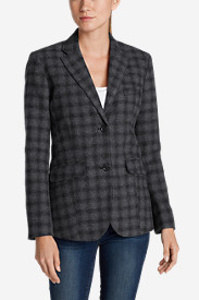 Black Plus Size Blazers for Women: Women's Classic Wool-Blend Blazer - Pattern