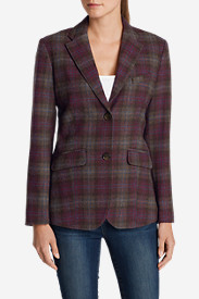 Red Plus Size Blazers for Women: Women's Classic Wool-Blend Blazer - Pattern