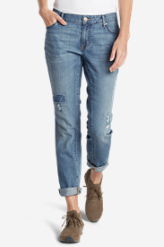 Blue Plus Size Jeans for Women: Women's Boyfriend Slim Jeans - Destroyed