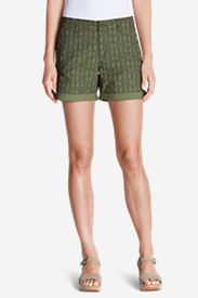 Green Shorts for Women: Women's Willit Poplin Shorts - Print