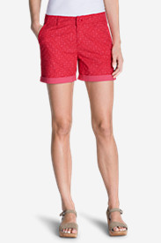 Red Shorts for Women: Women's Willit Poplin Shorts - Print