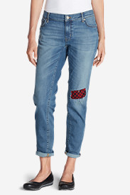 Flannel Jeans for Women: Women's Elysian Flannel Patch Jeans - Boyfriend Slim