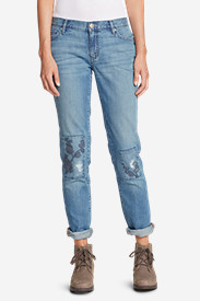 Women's Boyfriend Slim Embroidered Jeans
