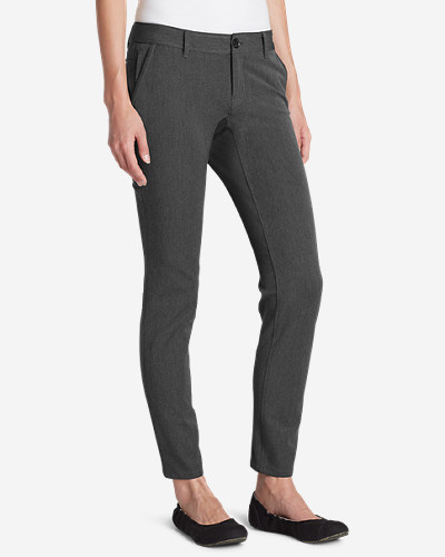 Gray Petite Pants for Women: Women's Travel Pants - Slightly Curvy