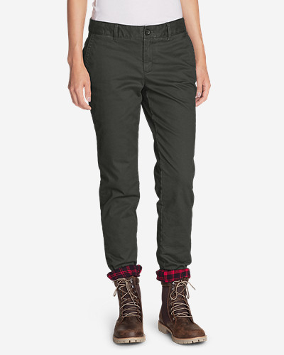 Insulated Pants for Women: Women's Stretch Legend Wash Flannel-Lined Pants - Boyfriend